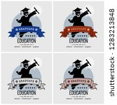 student graduation logo design. ... | Shutterstock .eps vector #1283213848