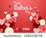 happy mother's day with rose on ... | Shutterstock .eps vector #1283228158