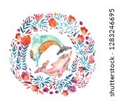 watercolor lovely dolphins... | Shutterstock . vector #1283246695