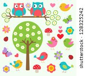 birds and owls in spring forest.... | Shutterstock .eps vector #128325242