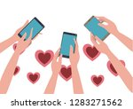 hands with smartphone and... | Shutterstock .eps vector #1283271562