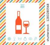 bottle of wine and wineglass... | Shutterstock .eps vector #1283280568