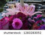 pink flower florist bouquet... | Shutterstock . vector #1283283052