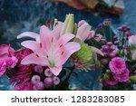 pink flower florist bouquet... | Shutterstock . vector #1283283085