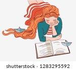 cute girl reading a book   Shutterstock .eps vector #1283295592