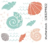 sea baby cute seamless pattern. ... | Shutterstock .eps vector #1283299822