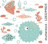 sea baby cute seamless pattern. ... | Shutterstock .eps vector #1283299825