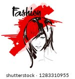 fashion girls face. woman face. ... | Shutterstock .eps vector #1283310955