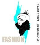 fashion girls face. woman face. ... | Shutterstock .eps vector #1283310958