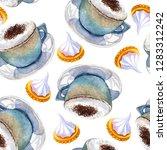 watercolor coffee macchiato cup ... | Shutterstock . vector #1283312242