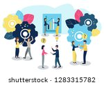 people work as a team and reach ... | Shutterstock .eps vector #1283315782