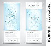 roll up banner stands with dna... | Shutterstock .eps vector #1283316052