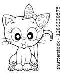 cute kitty coloring vector | Shutterstock .eps vector #1283330575
