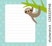 card design with kawaii sloth... | Shutterstock .eps vector #1283335948