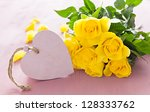 heart shape with roses and copyspace - stock photo