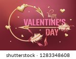 valentine's day card with gold... | Shutterstock .eps vector #1283348608