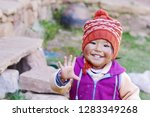 happy native american toddler... | Shutterstock . vector #1283349268