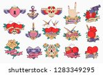 set of romantic icons with old... | Shutterstock .eps vector #1283349295