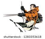 stock illustration. climber in... | Shutterstock .eps vector #1283353618
