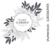hand drawn vector sketsh floral ... | Shutterstock .eps vector #1283363455