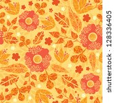 fire flowers seamless pattern... | Shutterstock . vector #128336405