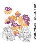 vector tropical pattern with... | Shutterstock .eps vector #1283371105