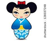 Cute Vector Kokeshi Doll