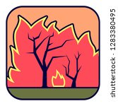 natural cataclysm. forest fire. | Shutterstock .eps vector #1283380495