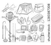 ice fishing equipment... | Shutterstock .eps vector #1283387308