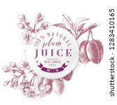 plum juice paper emblem over... | Shutterstock .eps vector #1283410165