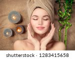 beautiful spa woman with a... | Shutterstock . vector #1283415658