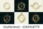 luxury wedding logo with... | Shutterstock .eps vector #1283418775