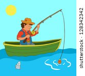 illustration with fisherman and ... | Shutterstock .eps vector #128342342