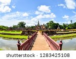red wooden bridge in sukhothai... | Shutterstock . vector #1283425108