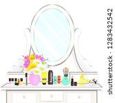 dressing table with mirror with ...   Shutterstock .eps vector #1283432542