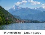 landscape on como lake between...   Shutterstock . vector #1283441092