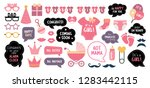 baby shower photo booth props....   Shutterstock .eps vector #1283442115