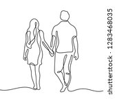 couple walking continuous line... | Shutterstock .eps vector #1283468035