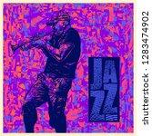 jazz music.  design cd cover or ... | Shutterstock .eps vector #1283474902