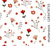 vector floral pattern in doodle ... | Shutterstock .eps vector #1283478715