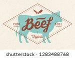 cow  bull  beef. vintage...   Shutterstock .eps vector #1283488768