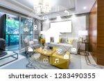 circular futuristic interface... | Shutterstock . vector #1283490355