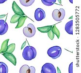 hand drawn watercolor seamless... | Shutterstock . vector #1283505772