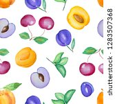watercolor seamless hand drawn... | Shutterstock . vector #1283507368