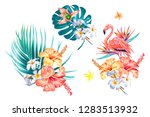 tropical flowers  palm leaves ...   Shutterstock .eps vector #1283513932