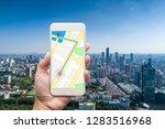 mobile gps navigation on mobile ... | Shutterstock . vector #1283516968