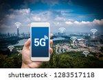 hand holding mobile smart phone ... | Shutterstock . vector #1283517118