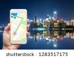 mobile gps navigation on mobile ... | Shutterstock . vector #1283517175