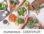 healthy vegan food lunch  top... | Shutterstock . vector #1283519125
