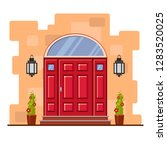 red front door with an arch and ... | Shutterstock .eps vector #1283520025